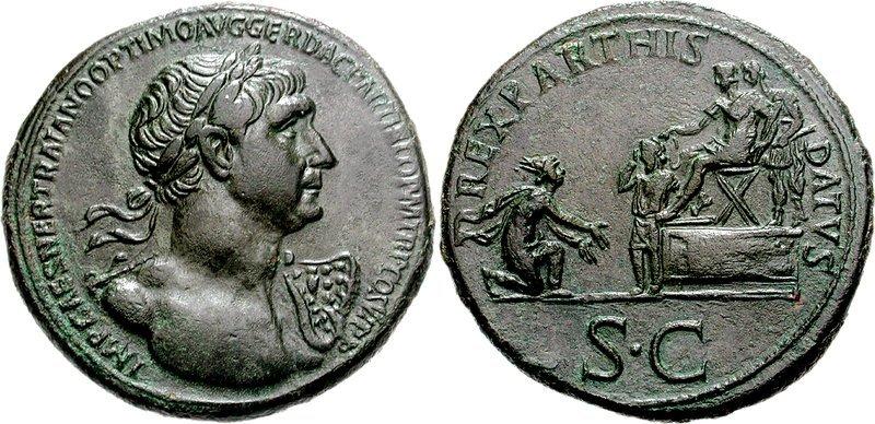 Сестерция с портрет на Траян; монетата показва васалното подчиняване на Партската държава от римска гледна точка (116 г.)