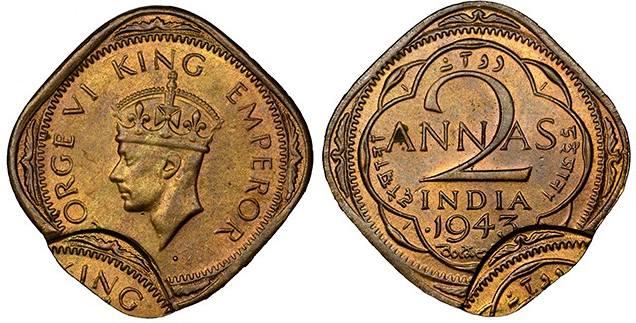 Или тази Индийска монета от 1943 от 2 Аннаса. е едно мексиканско песо от 1981г.